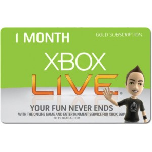 Xbox 1 month Live Card